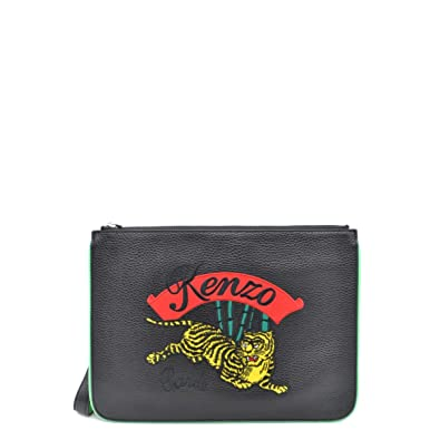 e1fcf26e8ef Kenzo Women's Kenzo Jumping Tiger Black Tumbled Leather Clutch Black:  Handbags: Amazon.com
