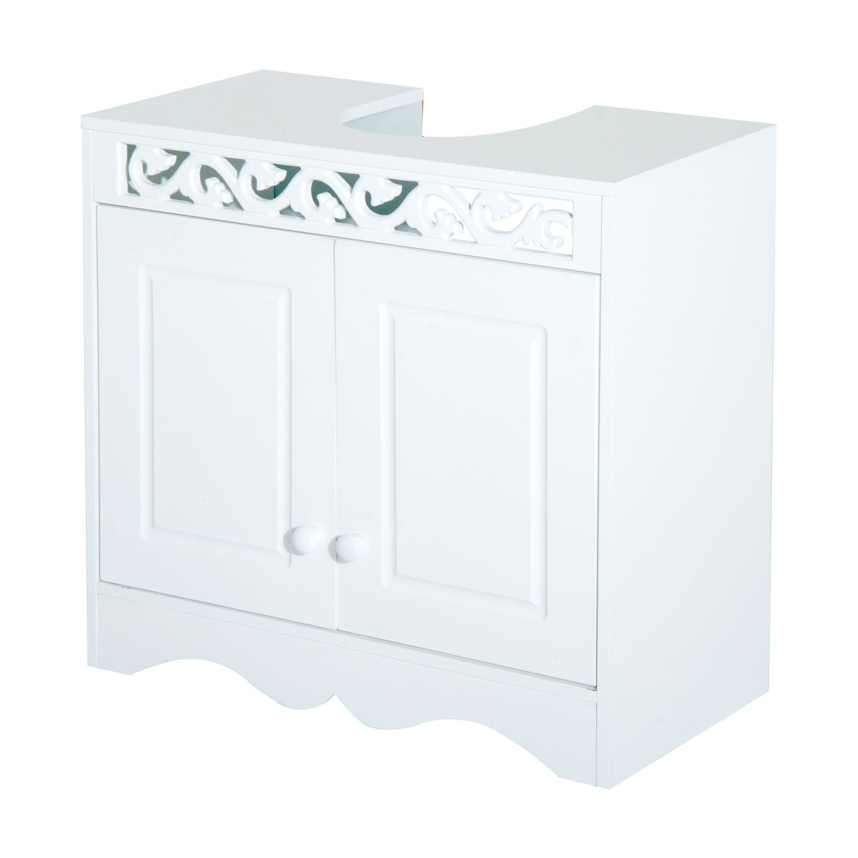 HOMCOM Bathroom Under Sink Storage Cabinet 2 Door Wooden Cupboard Vanity Units Sold By MHSTAR