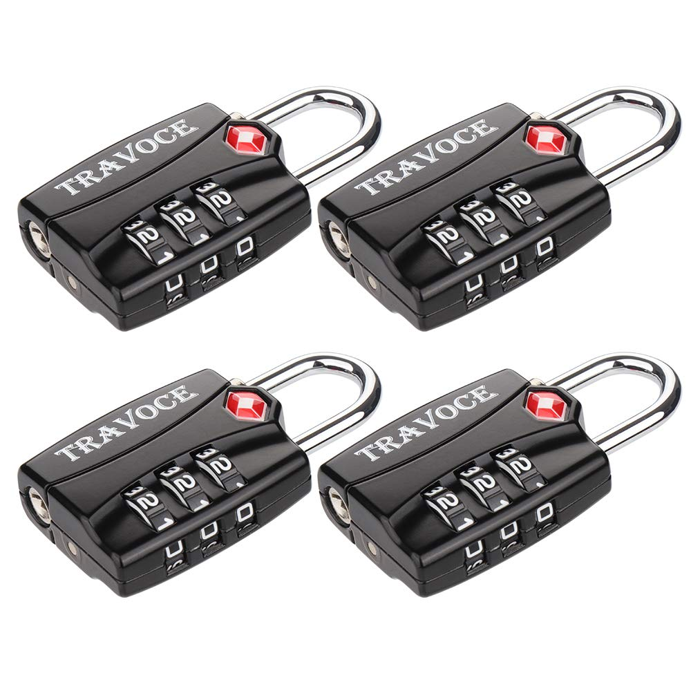 TSA Approved Luggage Locks, Travel Locks Which Also Work Great as Gym Locks, Toolbox Lock, Backpack and more, Black 4 Pack by Travoce