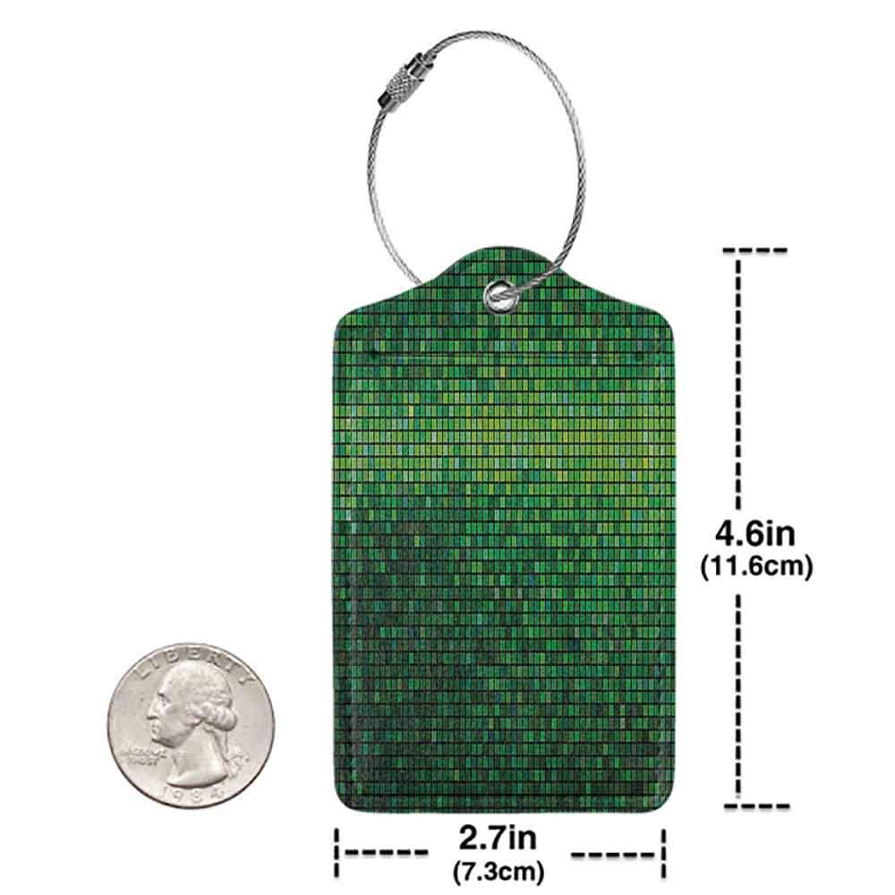 Modern luggage tag Green Abstract Lights Square Pixel Mosaic Design Geometric Technology Theme Digital Grid Print Suitable for children and adults Green W2.7 x L4.6