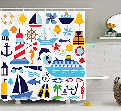 AME_lmjxx Nautical Decor Collection, Diving Equipment Scuba Life Jacket Sunshine Tropical Tourist Enjoyment Image, Polyester Fabric Bathroom Shower Curtain, 60W X 72L Inch, Mustard Navy Blue Red