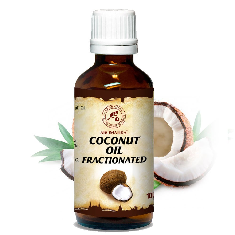 Fractionated Coconut Oil 100ml Glass Bottle - 100% Pure & Natural - Base Oil - Odorless Coconut Oil - Intensive Face Treatment - Body - Skin - Hair - Nails - Lips - for Beauty - Scentless Massage Oil - Wellness - Cosmetics - Body Care - Relaxation - Co