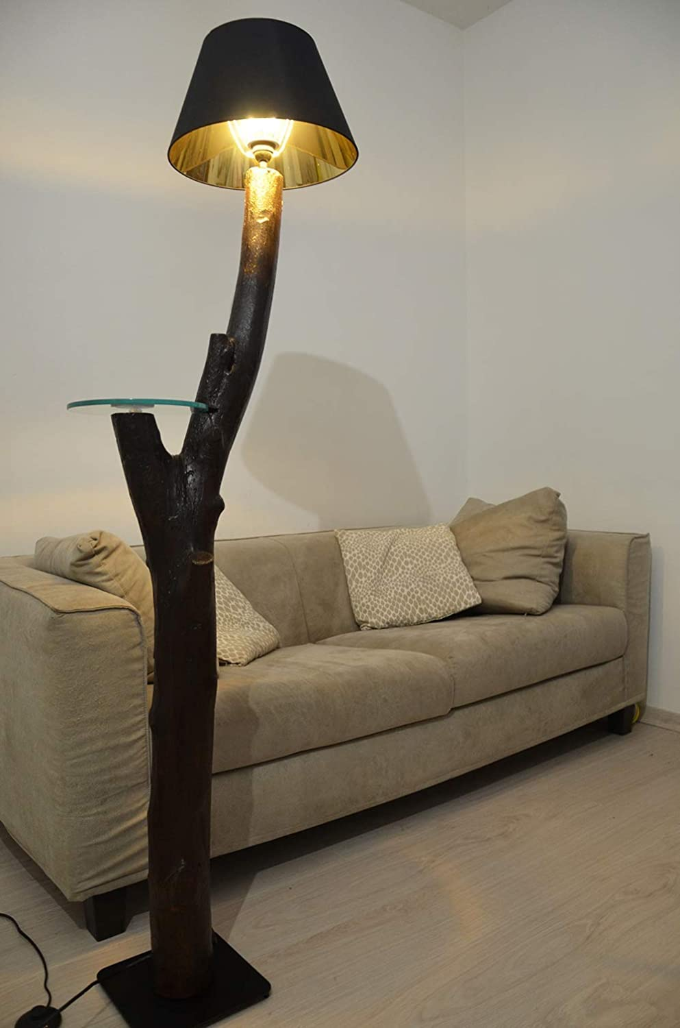 Wooden Floor Lamp With Tree Trunk Modern Ground Lamp With