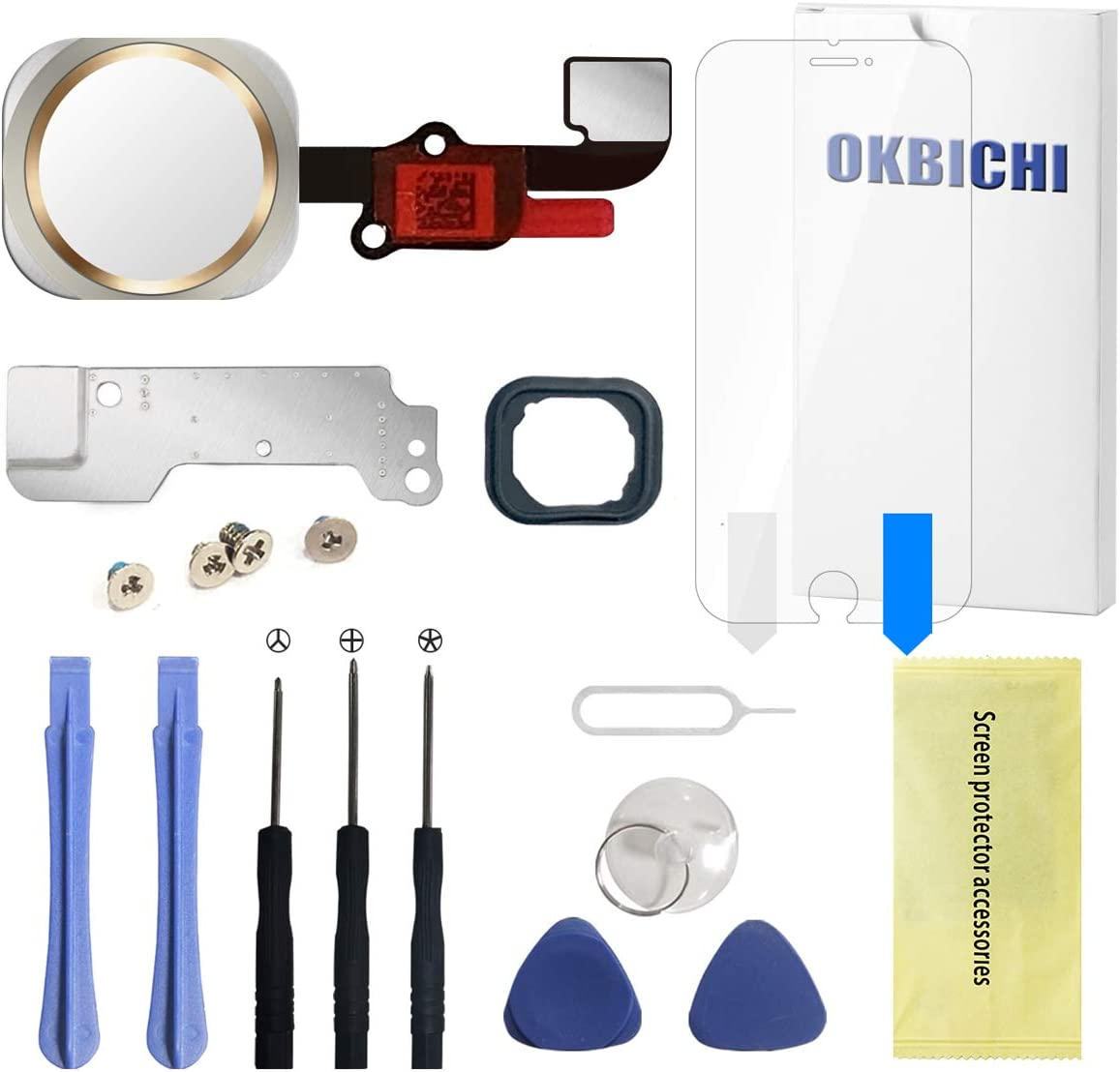 OKBICHI Home Button for iPhone 6/6 Plus(Gold) Main Key Flex Cable Assembly Replacement - Repair Tools with Screen Protector