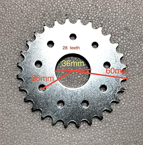 BGF Sprocket 28T 32T 36T 41T 48T 56T 60T Teeth for 49cc 80cc Gas Motor Bike (Flat 28T, 28 Teeth)