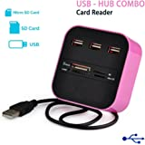 All In One Premium Combo 4 Multiple Card Reader 3 Ports USB Hub Mini Port Adapter High Speed For Notebook Laptop Micro SD Card Cell Phones Camera Connection Kits Power Accessories (Pink)