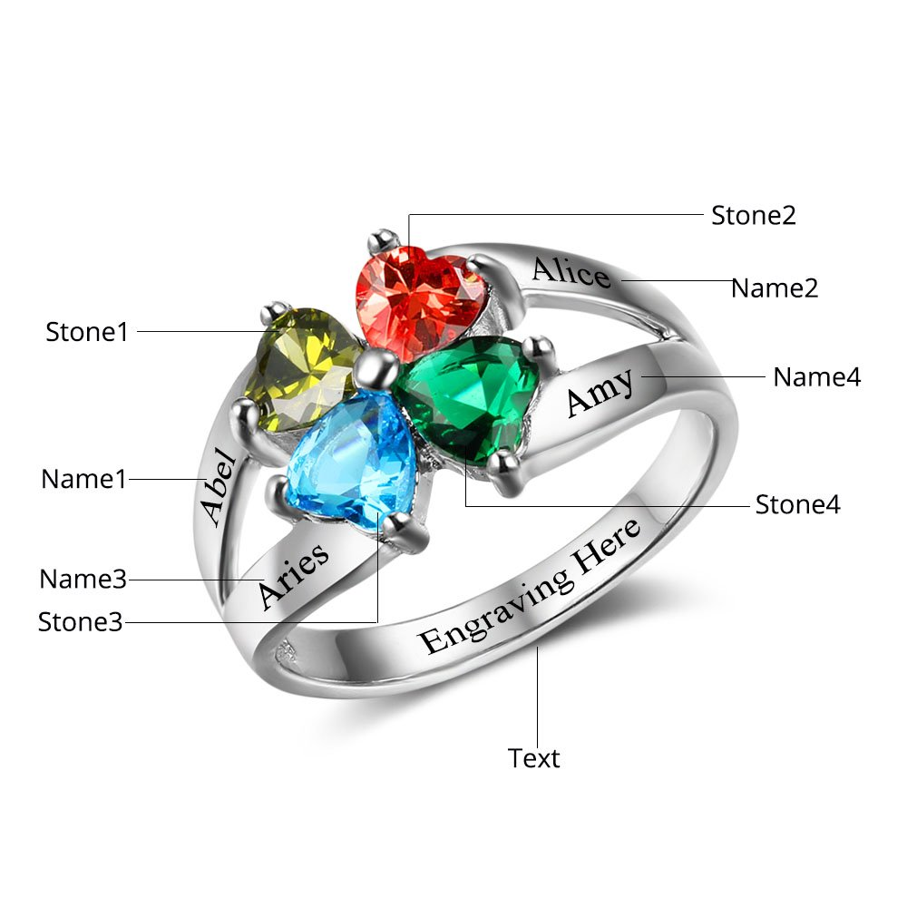 Diamondido Personalized Mother's Day Rings Family Jewelry Engrave Names Simulated Birthstone Rings for Women (6) by Diamondido (Image #2)