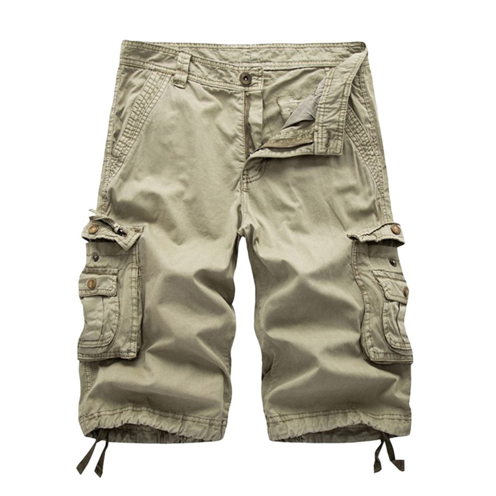 kaifongfu Mens Cargo Pant Casual Pure Color Outdoors Pocket Beach Work Trouser Cargo Shorts Pant Knickers Dark Gray,30