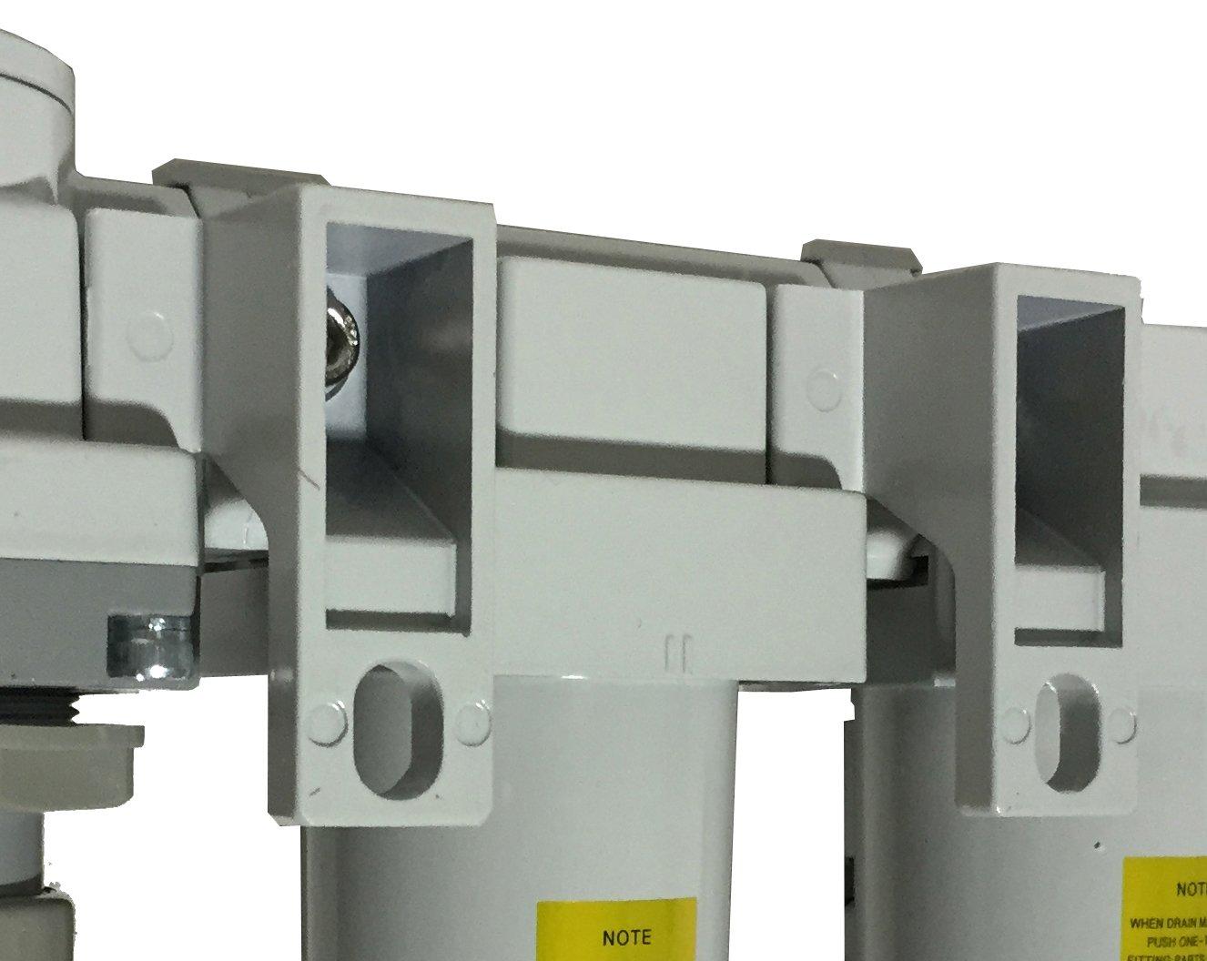 PneumaticPlus SAU4000M-N04G Three-Unit Combo Compressed Air Filter Regulator Lubricator FRL, Air Preparation Unit 1/2'' NPT - Manual Drain, Poly Bowl, 10 Micron with Gauge by PneumaticPlus