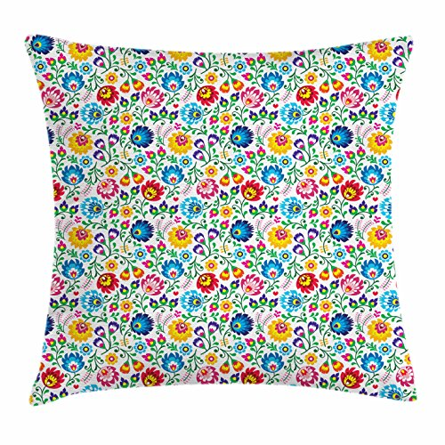 Ambesonne Floral Throw Pillow Cushion Cover, Polish Colorful Seasonal Foliage Pattern Traditional European Art Slavic Culture, Decorative Square Accent Pillow Case, 24 X 24 Inches, ()
