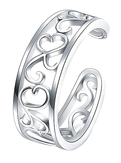de5aeeb2114ab BORUO 925 Sterling Silver Toe Ring, Flower Hawaiian Leaf Adjustable Band  Tail Ring