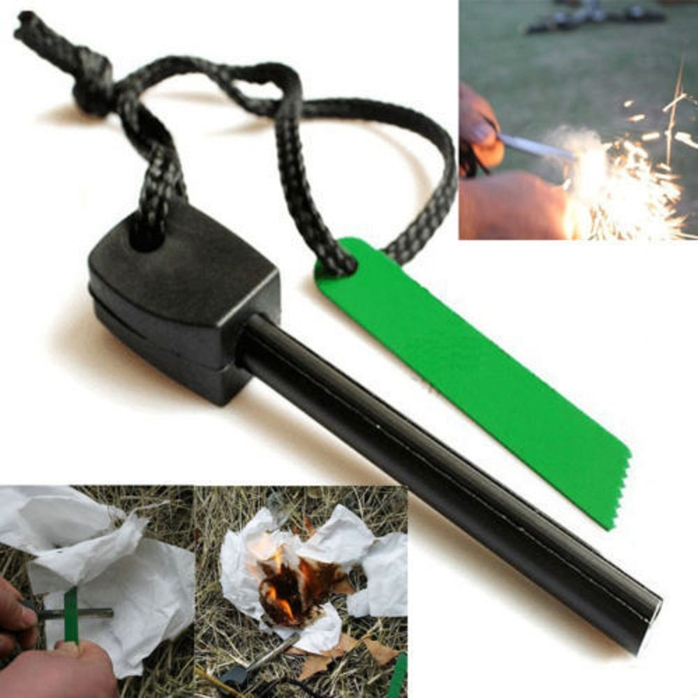 Magnesium Flint Stone Fire Starter Lighter Emergency Survival Camping Tool - Random color and design (8pcs)