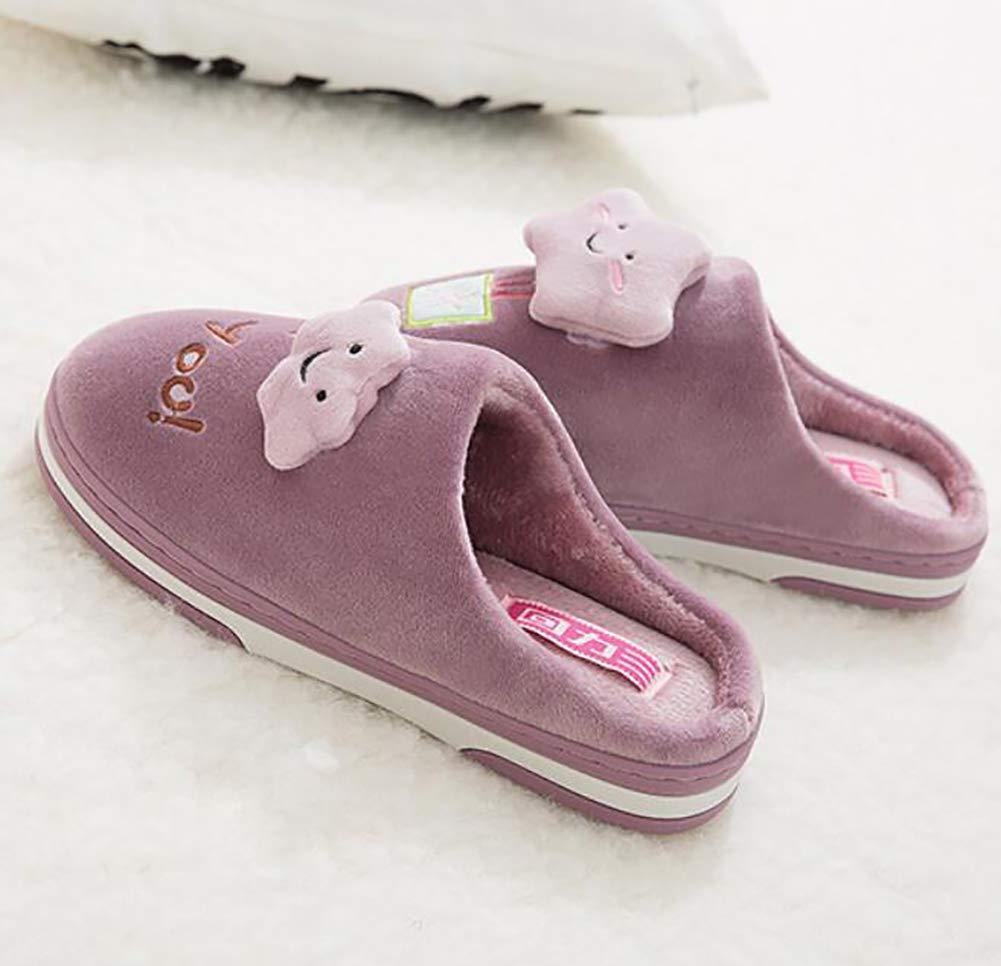 SHANGXIAN Invierno Cálido Pantuflas Zapatos Mujer Casa Pantuflas Comodidad Linda Parte Inferior De Espesor Zapatilla De Pareja,Purple,34/35: Amazon.es: ...