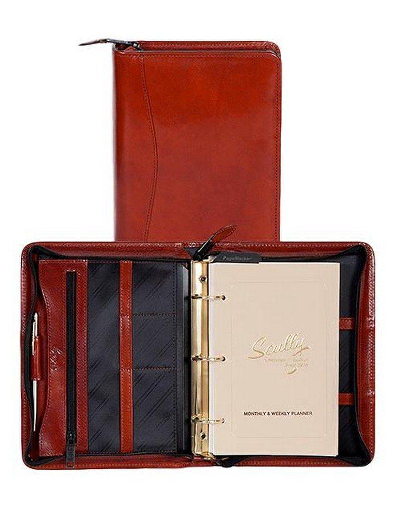 Scully Western Organizer Leather Zip Weekly Planner Pen Cognac 8053Z