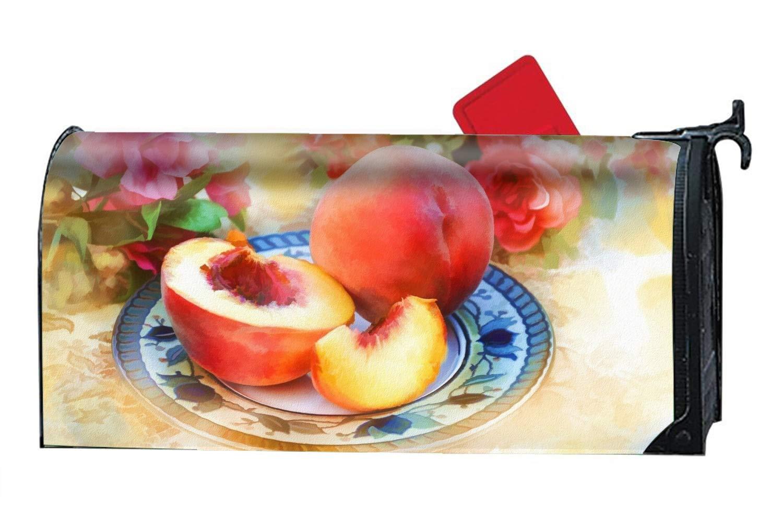 MALBX Artistic Still Life Painting Peach Plate Flower Pumpkinville Fall Magnetic Mailbox Cover Autumn Wagon Barn Standard