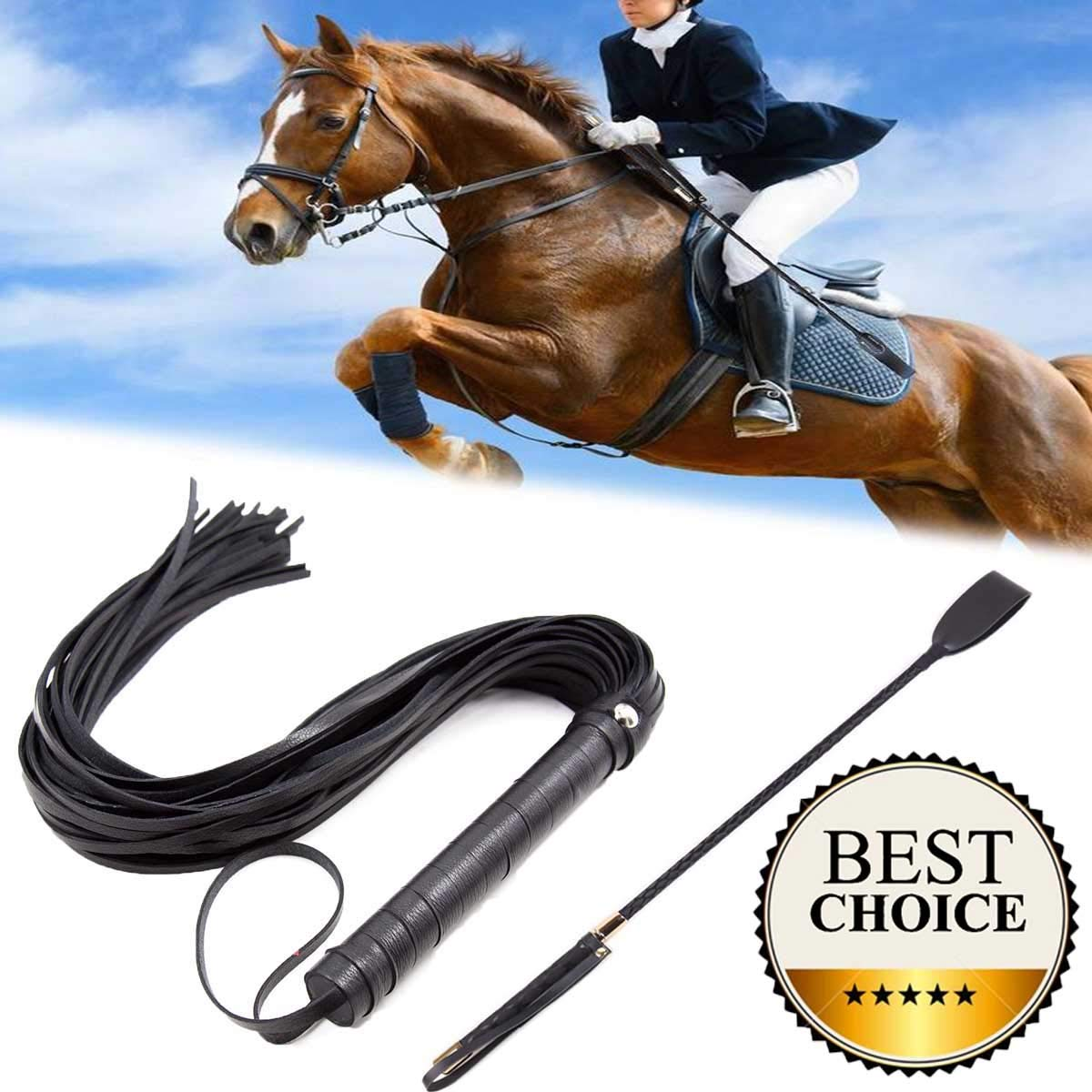 GABraden 18 Riding Crop Jump Bat/and Faux Leather Short Horse Riding Crop,Premium Quality Crops,Equestrianism Horse Crop,Black