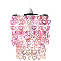 Beautiful Pretty Pink Acrylic Love Heart Beads Ceiling Pendant Children's Light Shade