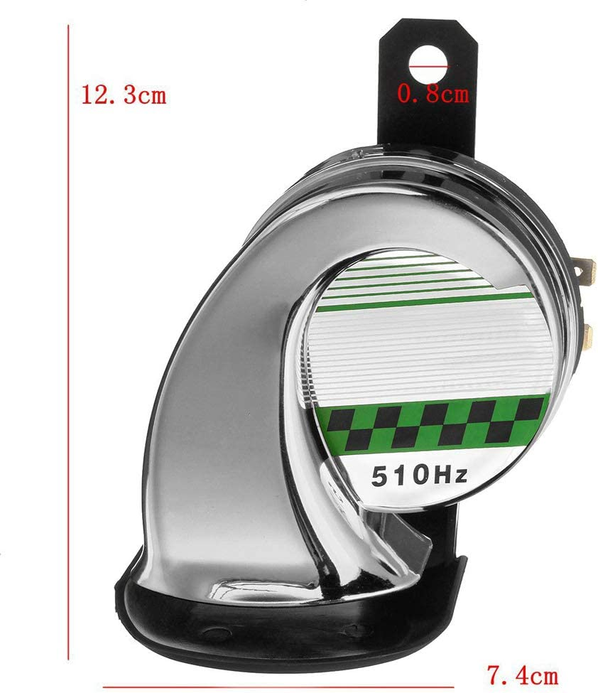 1Pcs 12V 130DB Electric Loud Snail Air Horn Siren Waterproof for Car Motorbike Truck Boat KKmoon Universal Motorcycle Horn Silver