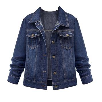 Chaquetas Jacket De Mezclilla Abrigo Denim Jacket Tamaño Grande Con Solapa Manga Larga Para Mujer: Amazon.es: Deportes y aire libre