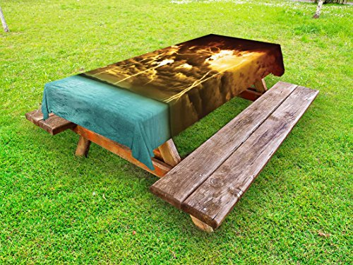 Lunarable Nature Outdoor Tablecloth, Flash Storm Over The Lake with Large Rain Clouds Miracle Solar Illumination Photo, Decorative Washable Picnic Table Cloth, 58 X 120 inches, Blue Yellow by Lunarable