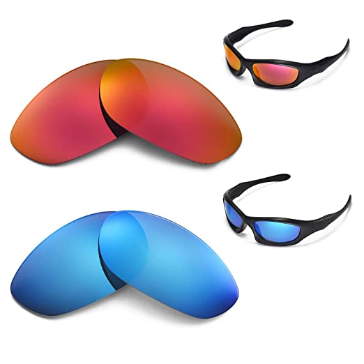 c5c817e50d Image Unavailable. Image not available for. Color  New Walleva Polarized  Ice Blue + Fire Red Lenses for Oakley Monster Dog