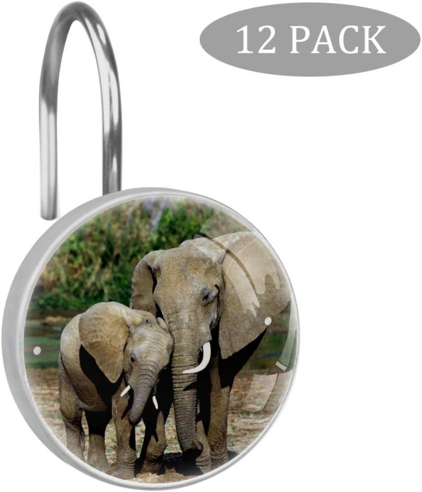 dekoratives Badezimmer-Set Bennigiry 12 St/ück niedliche Elefanten-Tapeten rollende Duschvorhang-Haken aus klarem Kristallglas