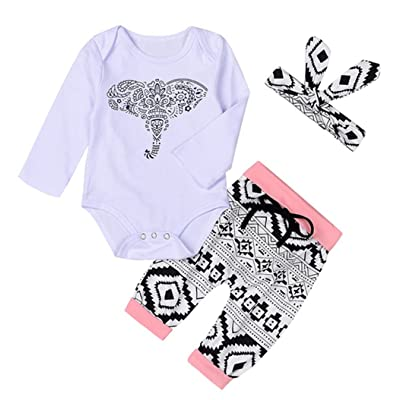 3Baby Girls Cartoon Elephant Print Romper Bodysuit Shirt+Pants+Headband Set