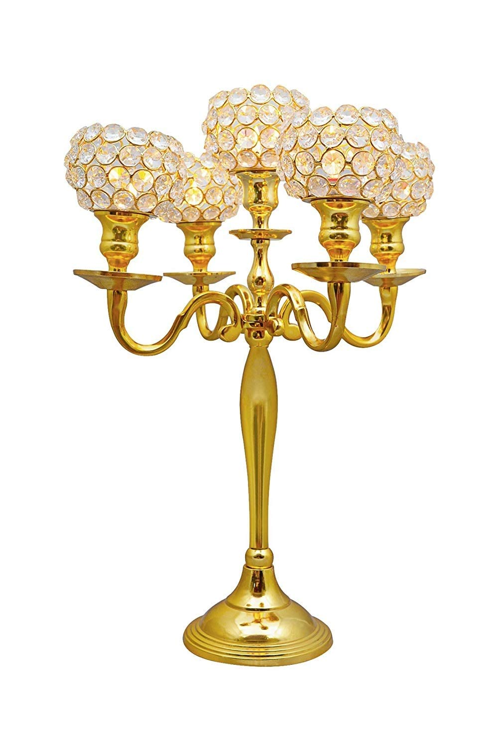 Simcs Handicrafts Set of 4 Piece Wholesale 20 Inch Small 5 Arm Gold Crystal Globe Candelabra for Wedding Centerpieces Votive Tealight Candle Holders Bulk