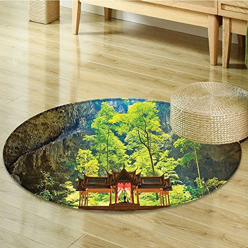 (Small round rug Carpet Latent Pavilion in Between the Cliffs Discovery of Faith in the Art door mat indoors Bathroom Mats Non Slip-Round 31