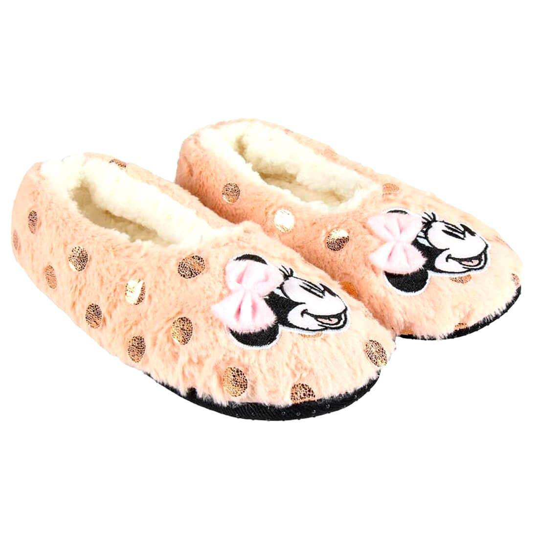 Non-Slip Sole Disney Slippers Girls Minnie Mouse One Size 4-7 UK 36-41 EU Pink and Gold