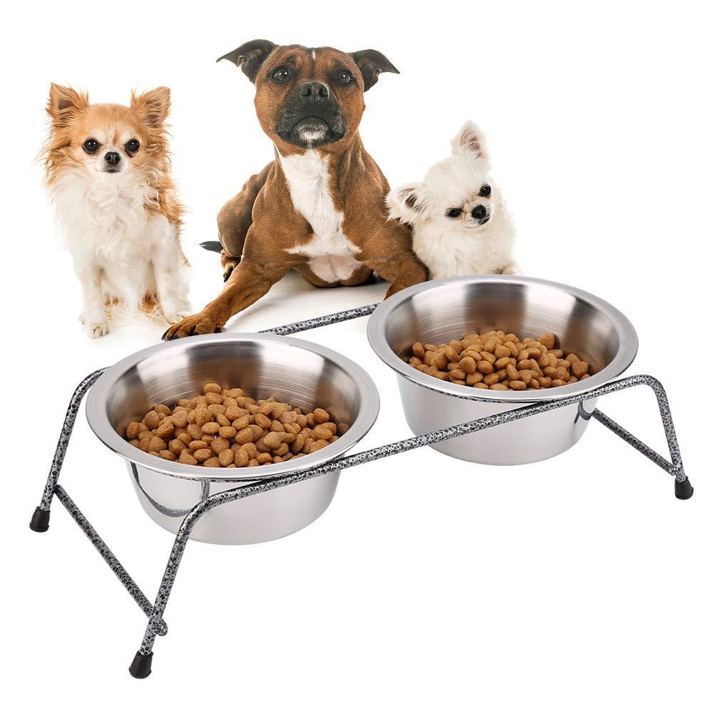 Comedero para Mascotas Cuencos Dobles Cuencos para Mascotas Estaci/ón de alimentaci/ón para Animales de Acero Inoxidable Comedero para Mascotas Platos Extra/íbles Gato para Perros