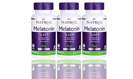 Natrol Melatonin Time Release 5mg Tablets 100 ea (Pack of 3)