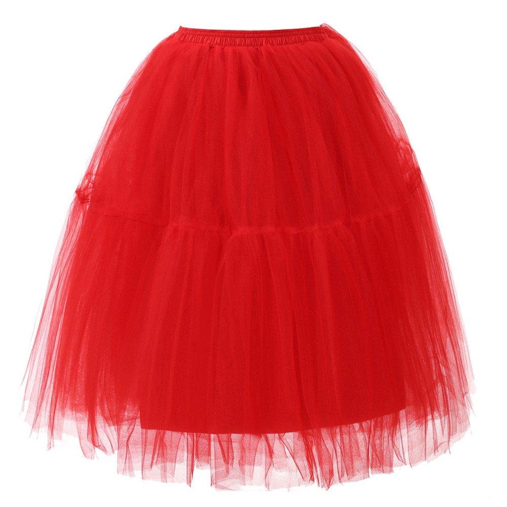 Rosennie Damen T/üt/ü Rock Minirock Mini Tanzrock Plissee Gaze Kurzen Rock Retro Petticoat 1950s Vintage Rock Candy Farbe f/ür Erwachsene und Kinder