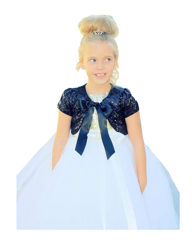 ekidsbridal Sequins Mesh Rose Gold Flower Girl Bolero Cape Dress Cover Up Shrug