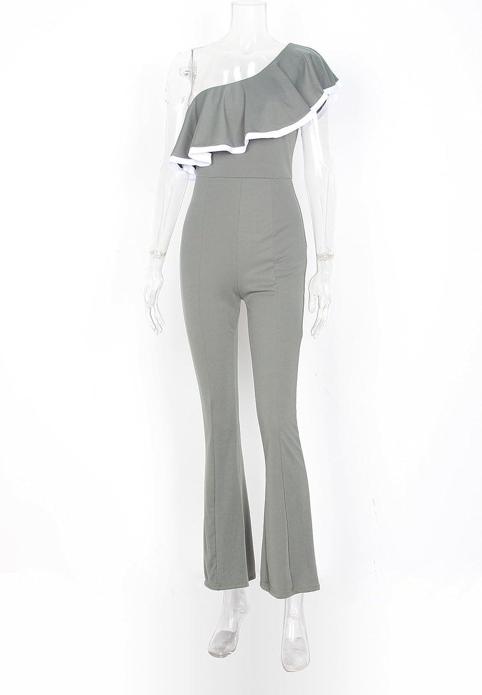 Elevesee Womens Elegant Off Shoulder Wide Leg Long Jumpsuit Romper