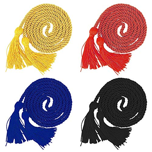 4 Pack Graduation Honor Cords,YuCool Polyester Yarn Cord with Tassel for Graduate-Red,Yellow,Blue and Black