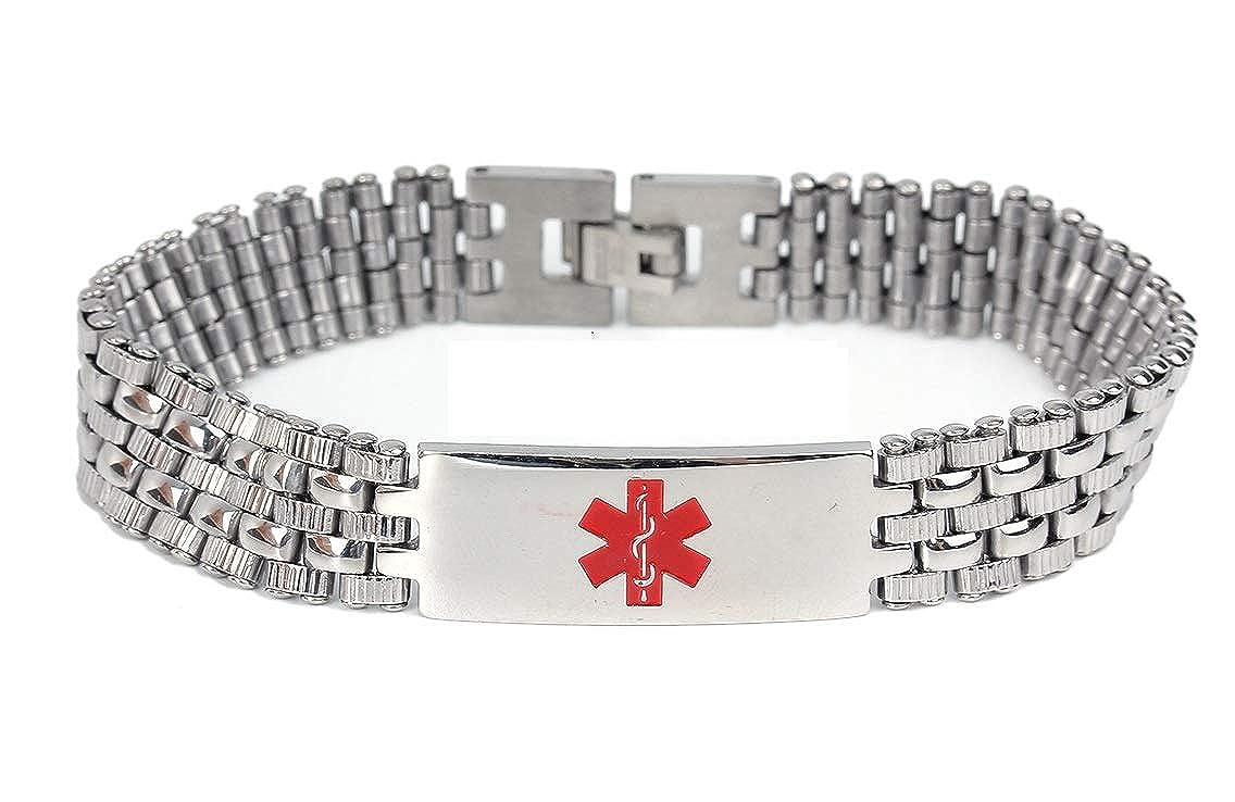 TYPE 2 Diabetes Medical Alert 316L Stainless Steel Unisex Bracelet by JGFinds, 8 1/2 Inch Stahl JGDia8-3