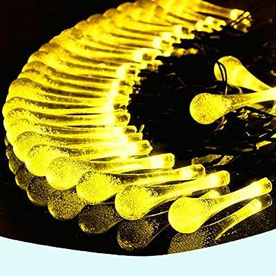 Gargar Waterproof Outdoor Solar Powered Led 20ft String lights 30 Water Drop Shape Bulbs Hanging Rope Decorative Light for Patio, Christmas, Tree, Yard, Garden Home, Wedding, Valentine Gift