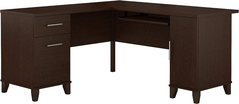 Bush Furniture Somerset L Shaped Desk with Storage, 60W, Mocha Cherry