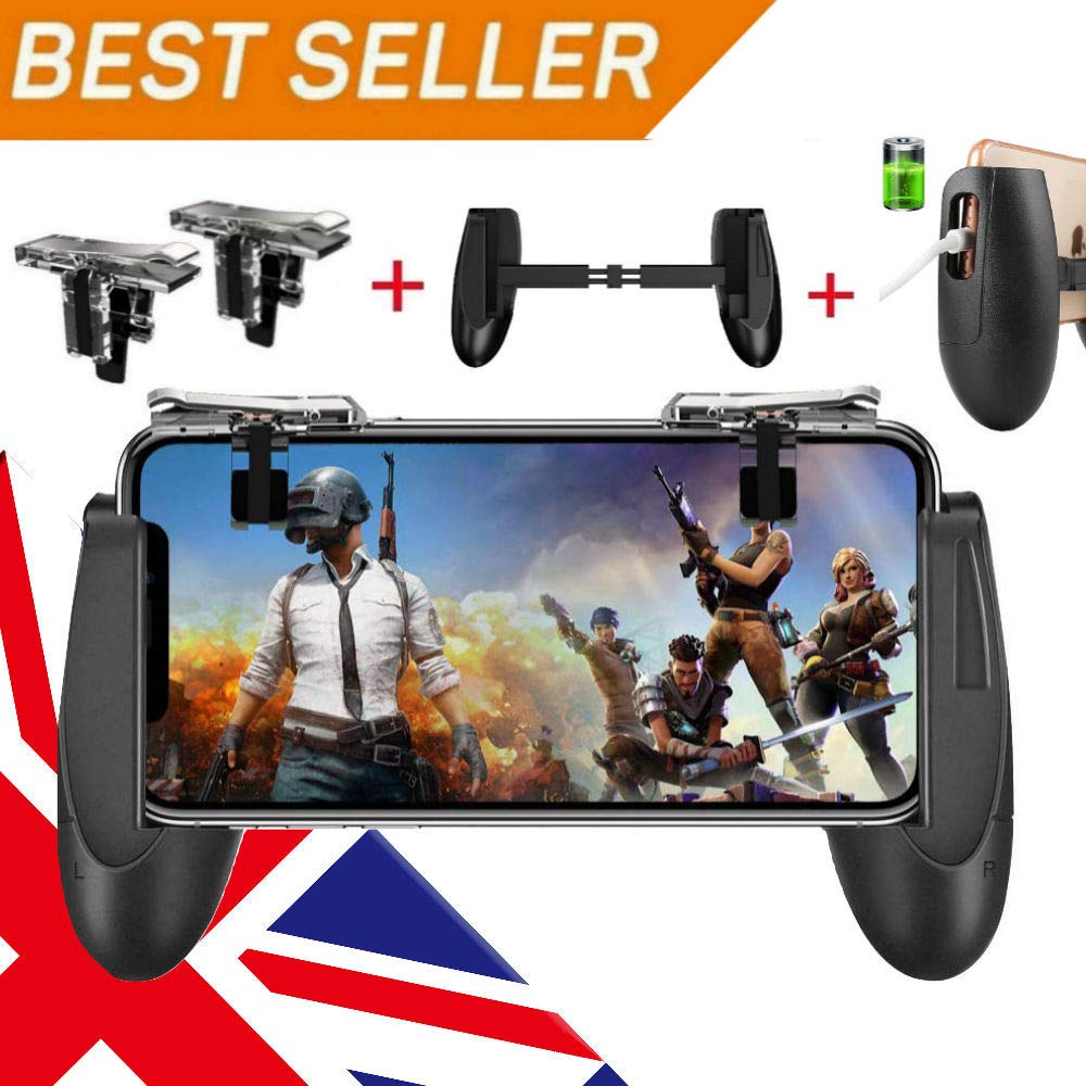 Mobile Game Controller for PUBG 5-in-1 Upgrade Version Gamepad Shoot and  Aim Trigger Phone Cooling Pad Power Bank for Android & IOS Fortnite/Knives