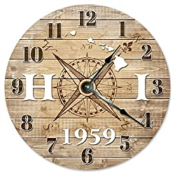 HAWAII CLOCK Established in 1959 Decorative Round Wall Clock Home Decor Large 10.5 COMPASS MAP RUSTIC STATE CLOCK Printed Wood Image