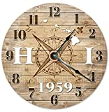 HAWAII CLOCK Established in 1959 Decorative Round Wall Clock Home Decor Large 10.5'' COMPASS MAP RUSTIC STATE CLOCK Printed Wood Image