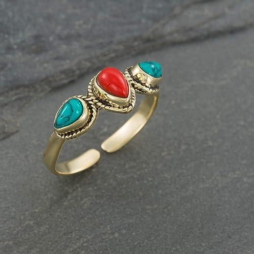 Ethnic Indian maroon ring