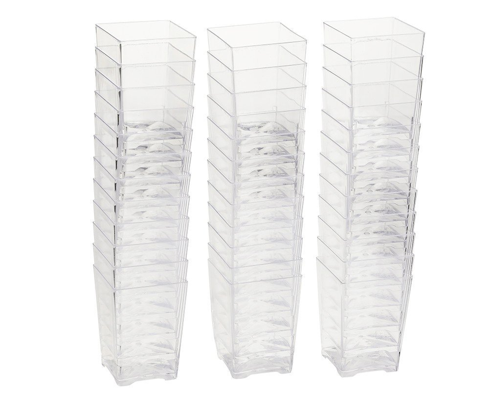 Disposable Elegant Square Plastic Glass Shot Cups 40 Count by SK