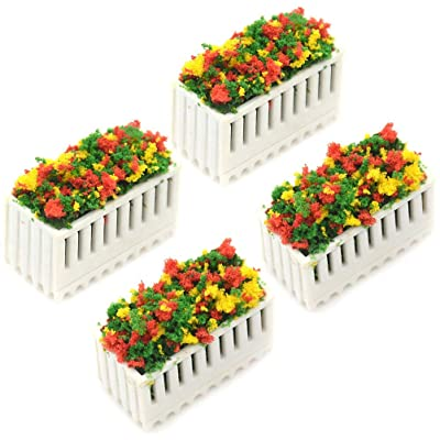 WONDS 4Pcs Flower Beds Plants Simulation Flower Beds Miniature Dollhouse Decoration Miniature Landscape Fairy Garden Decor Dollhouse Accessories: Home & Kitchen