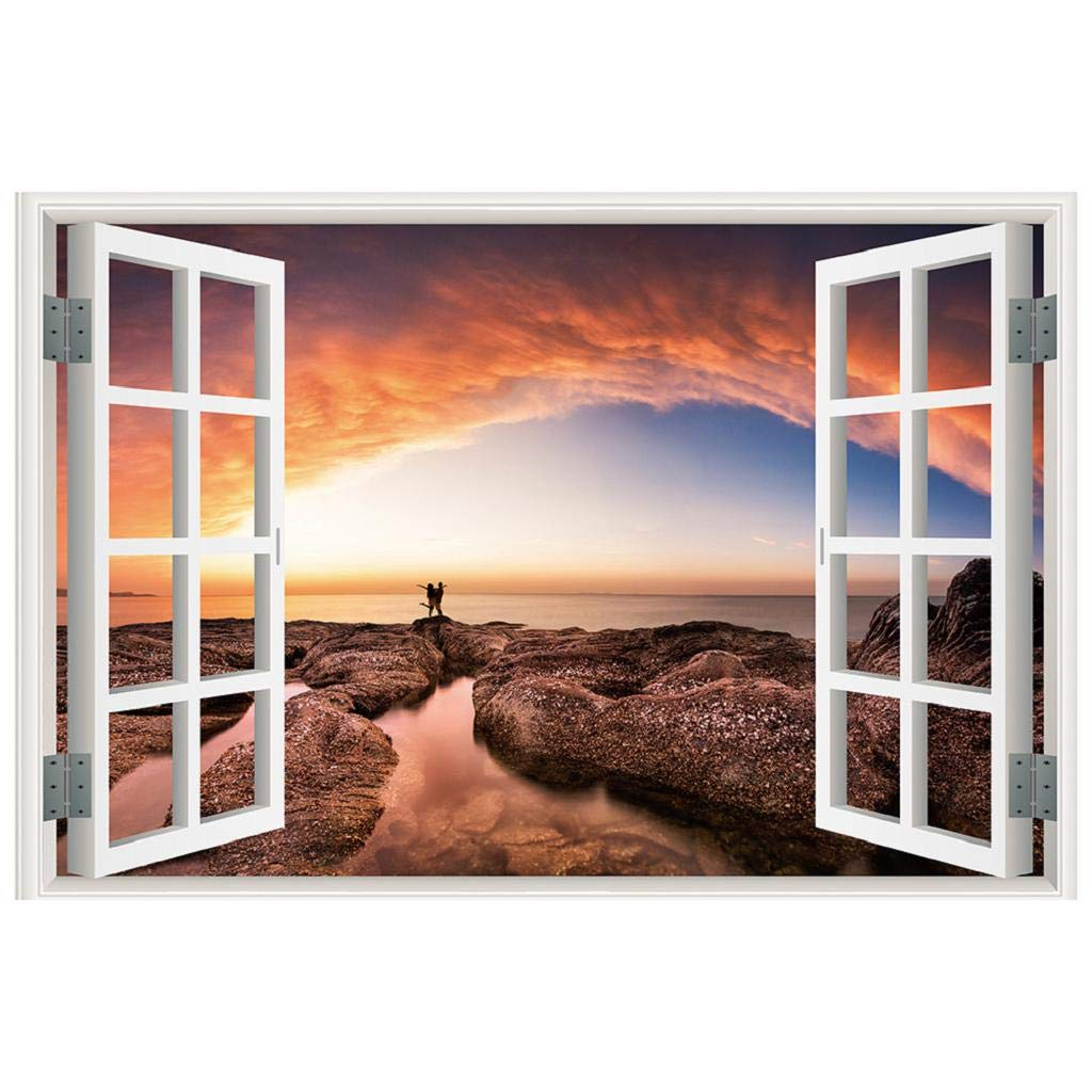 MISYAA Wall Stickers 3D Printed Window Sightseeing Wall Decal Stickers for Livingroom DIY Home Decor Ideas (F)