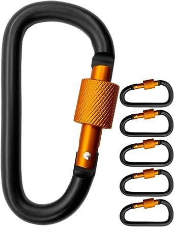 Outdoor Saxx® - 5 mosquetones de rosca grandes, ganchos de mosquetón para fijación de equipo, aluminio, 8 cm, color negro y naranja, 5 unidades.