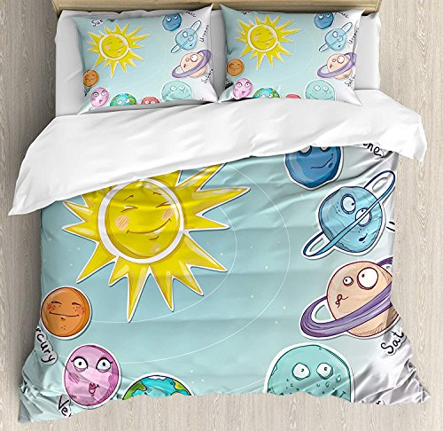 CyCoShower Space Duvet Cover Soft Microfiber 4 Piece Bedding Cover Set Cute Cartoon Sun and Planets of Solar System Fun Celestial Chart Baby Kids Nursery Theme Print, Zipper Closure and Corner Ties by CyCoShower