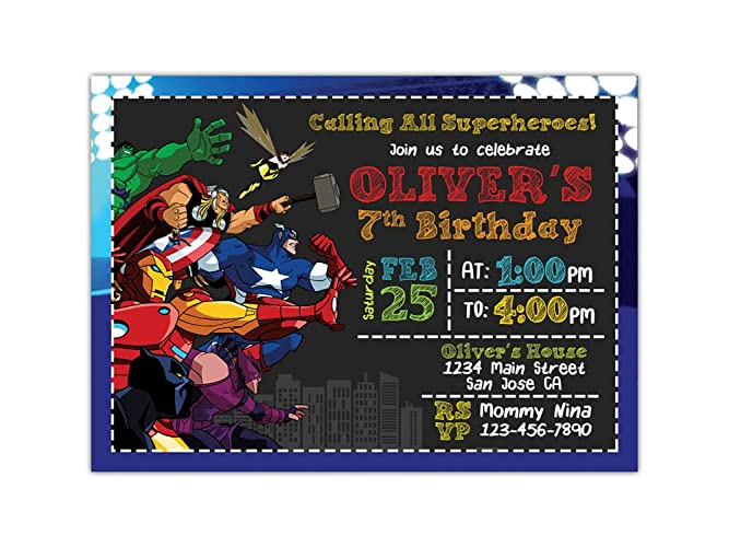 Custom Avengers Birthday Party Invitations For Kids 10pc 60pc 4x6 Or 5x7 Cards With White Envelopes Printed On Premium 265gsm Card Stock In