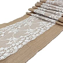 "AerWo Burlap Lace Bow - Hessian Burlap Table Runner Set Table Cover/Tablecloth 12"" x 108"" Jute Country Outdoor Wedding Party Decor"